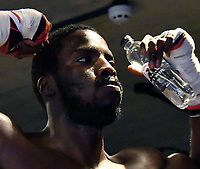 LONDON, ENGLAND - FEBRUARY 01: Team GB Rio Olympic champion Lawrence Okolie and and fellow Brit boxer Isaac Chamberlain, take part in media workout ahead of their match on Saturday 03 February, at BXR London on February 1st, 2017 in London, England.<br /> CAP/JOR<br /> &copy;JOR/Capital Pictures