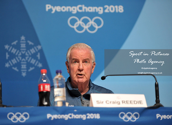Sir Craig Reedie (president of the World Anti-Doping Agency). World Anti Doping WADA press conference. Pyeongchang room. Main Press Centre (MPC). Pyeongchang2018 winter Olympics. Alpensia. Pyeongchang. Republic of Korea. 08/02/2018. ~ MANDATORY CREDIT Garry Bowden/SIPPA - NO UNAUTHORISED USE - +44 7837 394578