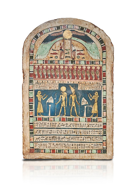 Ancient Egyptian stele dedicated to Ra-Harakhty & Atum by Psetjerfi, Late Period 26th Dynasty, (590-525 BC), Cat 1568. Egyptian Museum, Turin. white background, <br /> <br /> Gifted by the Cairo Museum
