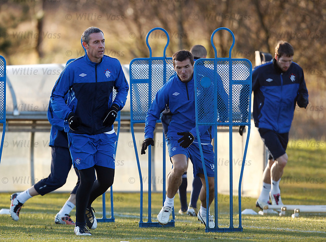 David Weir and Lee McCulloch training in the late afternoon sun