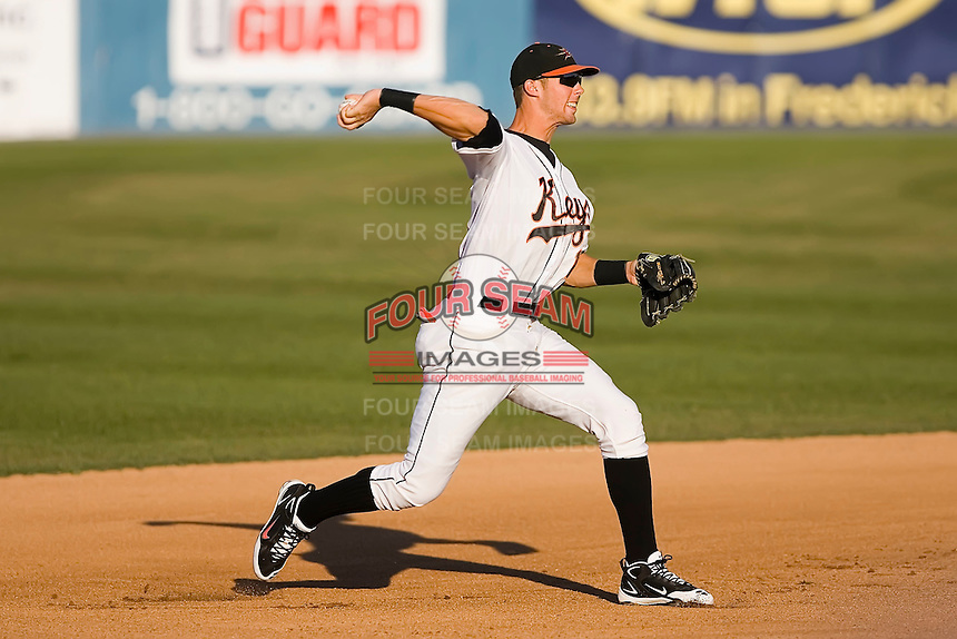 Third baseman Bill Rowell (11) of the Frederick Keys makes a throw to first base at Harry Grove Stadium in Frederick, MD, Monday July 14, 2008. (Photo by Brian Westerholt / Four Seam Images)
