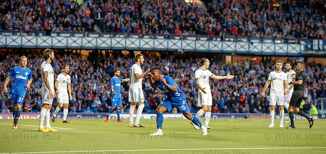 09.08.18 Rangers v Maribor: Alfredo Morelos roars and bellows to the Copland Road Stand after winning a penalty kick