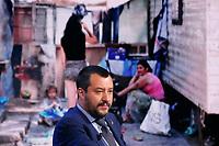 Matteo Salvini e sullo schermo delle donne Rom<br /> Matteo Salvini and on the screen a Gipsy camp<br /> Roma 20/06/2018. Il Ministro dell'Interno ospite della trasmissione tv Porta a Porta.<br /> Rome 20th of June. Italian Minister of Internal Affairs appears as a guest on the talk show Porta a Porta .<br /> Foto Samantha Zucchi Insidefoto