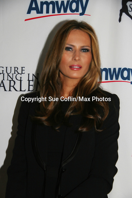 Melania Trump at Skating with the Stars (celebrities & Olympic skaters), a benefit gala for Figure Skating in Harlem on April 6, 2010 at Wollman Rink, Central Park, New York City, New York. (Photo by Sue Coflin/Max Photos)