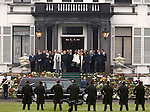 Queen Beatrix of the Netherlands( Centre L), standing next to her sister Princess Irene (L),Brother-in-law Pieter van Vollenhove(R), Princess Margriet 2nd R), and Princess Christina( 3rd R) and all other members of the Royal family gather on the steps in front of the Soestdijk palace to say their father and grandfather Dutch Prince Bernhard farewell before the hearse sets off to from Soestdijk to the Hague, December 5, 2004. Prince Bernhard, father of Dutch Queen Beatrix, will be burried in Delft Saturday 11. REUTERS/Michael Kooren