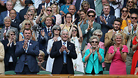 Serena Williams is applauded off court by amongst others John Major, David Beckham and Cliff Richard<br /> <br /> Photographer Rob Newell/CameraSport<br /> <br /> Wimbledon Lawn Tennis Championships - Day 10 - Thursday 11th July 2019 -  All England Lawn Tennis and Croquet Club - Wimbledon - London - England<br /> <br /> World Copyright © 2019 CameraSport. All rights reserved. 43 Linden Ave. Countesthorpe. Leicester. England. LE8 5PG - Tel: +44 (0) 116 277 4147 - admin@camerasport.com - www.camerasport.com