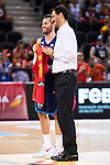 Spain's basketball player Rudy Fernandez and Jorge Garbajosa during the  match of the preparation for the Rio Olympic Game at Madrid Arena. July 23, 2016. (ALTERPHOTOS/BorjaB.Hojas)