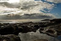Morning light on rocky sea shore, El Medano,Tenerife, Canary Islands, Spain