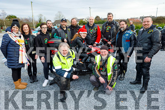 Members of the South West Motorcycle Club at the Slow Motorbike Race fundraiser in aid of the Kerry/Cork Cancer Link Bus and Palliative Care Kerry Hospice in Lixnaw on Saturday. <br /> Kneeling l to r: John Rice and Jimmy Doyle.<br /> Back l to r: Sonya Doyle, Mags Foley, Marcus and Paul O'Sullivan, Colm Farmer, Tim Smith, Liam Counihan, Seamus Flaherty, John Lenihan, John Foley and Catherine Stack on the bike.