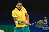 9th January 2020; Sydney Olympic Park Tennis Centre, Sydney, New South Wales, Australia; ATP Cup Australia, Sydney, Day 7; Great Britain versus Australia; Cameron Norrie of Great Britain versus Nick Kyrgios of Australia; Nick Kyrgios of Australia hits a backhand to Cameron Norrie of Great Britain - Editorial Use