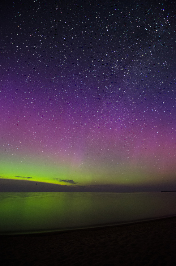 The colorful layers of the Auroras over Lake Superior.