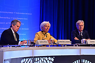 Washington, DC - April 19, 2018: IMF Managing Director Christine Lagarde holds a press briefing, accompanied by David Lipton and Gerry Rice, during the Spring Meetings of the International Monetary Fund/World Bank Group in Washington, DC April 19, 2018.  (Photo by Don Baxter/Media Images International)