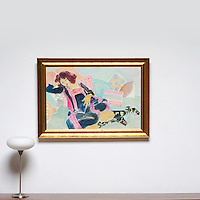 "Majoli: Floating Figure: Boots, Digital Print, Image Dims. 24"" x 38"", Framed Dims. 30"" x 42:"