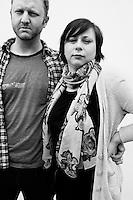 HEMINGWAY, SC - MARCH 31: SCOTT'S BBQ. Paul Jenkins and Sandra Poczobut, from Toronto, Canada.  (Photo by Landon Nordeman)