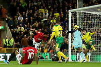27th Ocotber 2019; Carrow Road, Norwich, Norfolk, England, English Premier League Football, Norwich versus Manchester United; Tim Krul of Norwich City saves Anthony Martial of Manchester Utd header on goal - Strictly Editorial Use Only. No use with unauthorized audio, video, data, fixture lists, club/league logos or 'live' services. Online in-match use limited to 120 images, no video emulation. No use in betting, games or single club/league/player publications