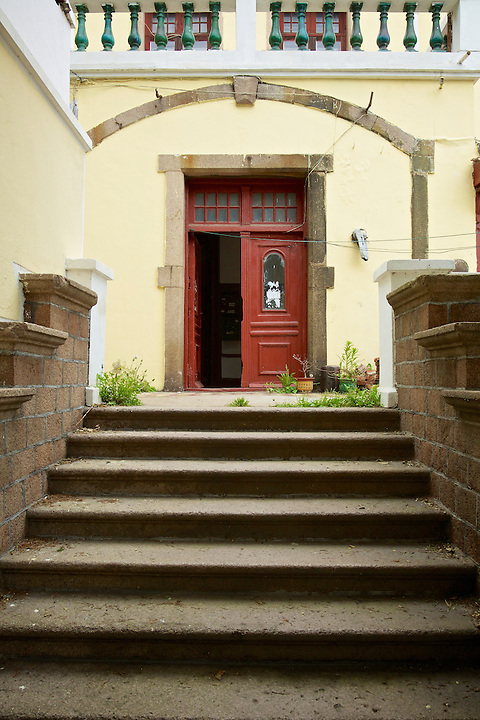 "Steps And Front Door, Customs Commissioner's Residence (""Ohlmer's Residence""), Qingdao (Tsingtao)."