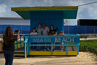 MIAMI, USA - January 24: People visit then area of the Super Bowl XLIV fan zone on January 24, 2020 in Miami Beach, USA.  The Super Bowl XLIV will take place in the Hard Rock Stadium in Miami between the teams 49ers vs. Chiefs, and it will be played on Sunday, Feb. 2, 2020. (Photo by VIEWpress)