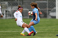 Piscataway, NJ - Sunday April 30, 2017: Desiree Scott and  Daphne Corboz during a regular season National Women's Soccer League (NWSL) match between Sky Blue FC and FC Kansas City at Yurcak Field.