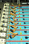 19.08.2014, Velodrom, Berlin, GER, Berlin, Schwimm-EM 2014, im Bild 100m Backstroke - Men, Bahn 3 - Jan-Philip Glania, Bahn 2 - Christian Diener, Start<br /> <br />               <br /> Foto &copy; nordphoto /  Engler