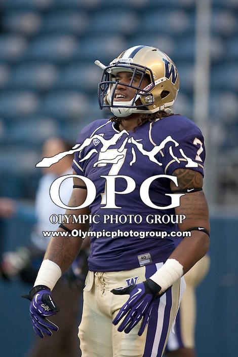 Sept 01, 2012:  Washington's #7 Shaq Thompson against San Diego State.  Washington defeated San Diego State 21-12 at CenturyLink Field in Seattle, Washington...