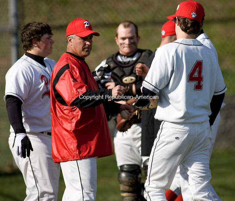 SOUTHBURY, CT - 15 APRIL 2009 -041509JT10-<br /> Pomperaug coach Mike Eisenbach during Wednesday's game in which the Panthers won 4-0. <br /> Josalee Thrift Republican-American