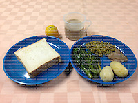 A Hong Kong Government Correctional Services Department handout photo shows a typical western meal that British ex-banker Rurik Jutting has been eating each day at the Lai Chi Kok Reception Centre where he is being held for the alleged killing of two Indonesian women in October 2014, Hong Kong, China, 01 November 2016.