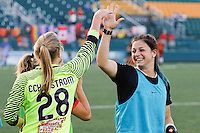 Rochester, NY - Friday June 24, 2016: Western New York Flash goalkeeper Britt Eckerstrom celebrates with a teammate during a regular season National Women's Soccer League (NWSL) match between the Western New York Flash and the Boston Breakers at Rochester Rhinos Stadium.