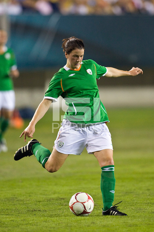 Republic of Ireland (IRL) defender Niamh Fahey (4). The United States Women's National Team (USA) defeated the Republic of Ireland (IRL) 2-0 during an international friendly at Lincoln Financial Field in Philadelphia, PA, on September 13, 2008.