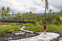 A visitor explores a path at Pu'uhonua o Honaunau in Kona, Hawai'i Island.