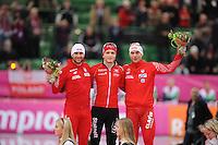 SCHAATSEN: HAMAR: Vikingskipet, 11-01-2014, Essent ISU European Championship Allround, podium 500m Men, Konrad Niedzwiedzki (POL), Havard Bøkko (NOR), Zbigniew Brodka (POL), ©foto Martin de Jong