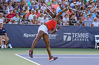 Washington, DC - August 3, 2019:  Coco Gauff (USA) serves an ace during the  Women Doubles finals at William H.G. FitzGerald Tennis Center in Washington, DC  August 3, 2019.  (Photo by Elliott Brown/Media Images International)