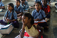Children attend a classroom at a school in village Gorikothapally, Telangana, Indiia, on Friday, February 8, 2019. Photographer: Suzanne Lee for Safe Water Network
