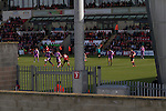 First-half action as Morecambe hosted Plymouth Argyle in a League 2 fixture at the Globe Arena. The stadium was opened in 2010 and replaced Morecambe's traditional home of Christie Park which had been their home since 1921, the year after their foundation. Plymouth won this fixture by 2-0 watched by 2,081 spectators, in a game delayed by 30 minutes due to traffic congestion affecting travelling Argyle fans.