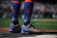 SAN FRANCISCO, CA - JULY 20:  Detail of Under Armour cleats and Stance socks worn by Todd Frazier #21 of the New York Mets during the game against the San Francisco Giants at Oracle Park on Saturday, July 20, 2019 in San Francisco, California. (Photo by Brad Mangin)