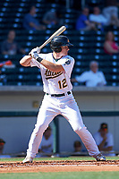 Mesa Solar catcher Sox Sean Murphy (12), of the Oakland Athletics organization, at bat during a game against the Surprise Saguaros on October 20, 2017 at Sloan Park in Mesa, Arizona. The Solar Sox walked-off the Saguaros 7-6.  (Zachary Lucy/Four Seam Images)