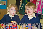 Twins Caoimhe and Eoghan Kelly were getting busy during their first day in Barradubh National School on Monday. on Monday............