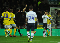 Preston North End's Ben Pearson (right) is shown a red card by referee Robert Jones<br /> <br /> Photographer Kevin Barnes/CameraSport<br /> <br /> The EFL Sky Bet Championship - Preston North End v Leeds United -Tuesday 9th April 2019 - Deepdale Stadium - Preston<br /> <br /> World Copyright &copy; 2019 CameraSport. All rights reserved. 43 Linden Ave. Countesthorpe. Leicester. England. LE8 5PG - Tel: +44 (0) 116 277 4147 - admin@camerasport.com - www.camerasport.com
