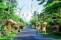 Bali, Badung, Mengwi. Streets in Mengwi decorated for a ceremony.