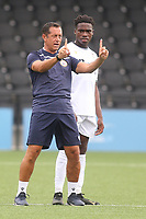 Bromley manager, Neil Smith, talks tactics with a trialist at half-time during Bromley vs Fulham, Friendly Match Football at the H2T Group Stadium on 6th July 2019