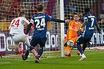 15.04.2019, RheinEnergieStadion, Koeln, GER, 2. FBL, 1.FC Koeln vs. Hamburger SV ,<br />  <br /> DFL regulations prohibit any use of photographs as image sequences and/or quasi-video<br /> <br /> im Bild / picture shows: <br /> Torchance fuer Dominick Drexler (FC Koeln #24), gegen Khaled Narey (HSV #7), Gotoku Sakai (HSV #24), Julian Pollersbeck (HSV #1), <br /> <br /> Foto &copy; nordphoto / Meuter