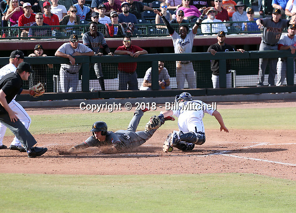 Dalton Varsho of the Salt River Rafters scores the second run of the game in the 2018 Arizona Fall League championship game won by the Peoria Javelinas, 3-2 in 10 innings, over theRafters at Scottsdale Stadium on November 17, 2018 in Scottsdale, Arizona (Bill Mitchell)