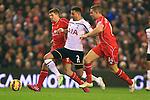 Tottenham's Kyle Walker battles Steven Gerrard and Jordan Henderson of Liverpool - Liverpool vs. Tottenham Hotspurs - Barclay's Premier League - Anfield - Liverpool - 10/02/2015 Pic Philip Oldham/Sportimage