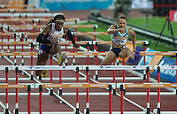 Jessica ENNIS HILL (Right) of GBR (Women's 100m Hurdles) and Cindy OFILI of GBR (Women's 100m Hurdles) during the Sainsburys Anniversary Games Athletics Event at the Olympic Park, London, England on 24 July 2015. Photo by Andy Rowland.