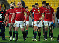 The Lions team walks from the pitch after the 2017 DHL Lions Series rugby match between the Hurricanes and British & Irish Lions at Westpac Stadium in Wellington, New Zealand on Tuesday, 27 June 2017. Photo: Dave Lintott / lintottphoto.co.nz