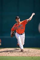 Baltimore Orioles pitcher Nick Vespi (76) delivers a pitch during an Instructional League game against the Pittsburgh Pirates on September 27, 2017 at Ed Smith Stadium in Sarasota, Florida.  (Mike Janes/Four Seam Images)