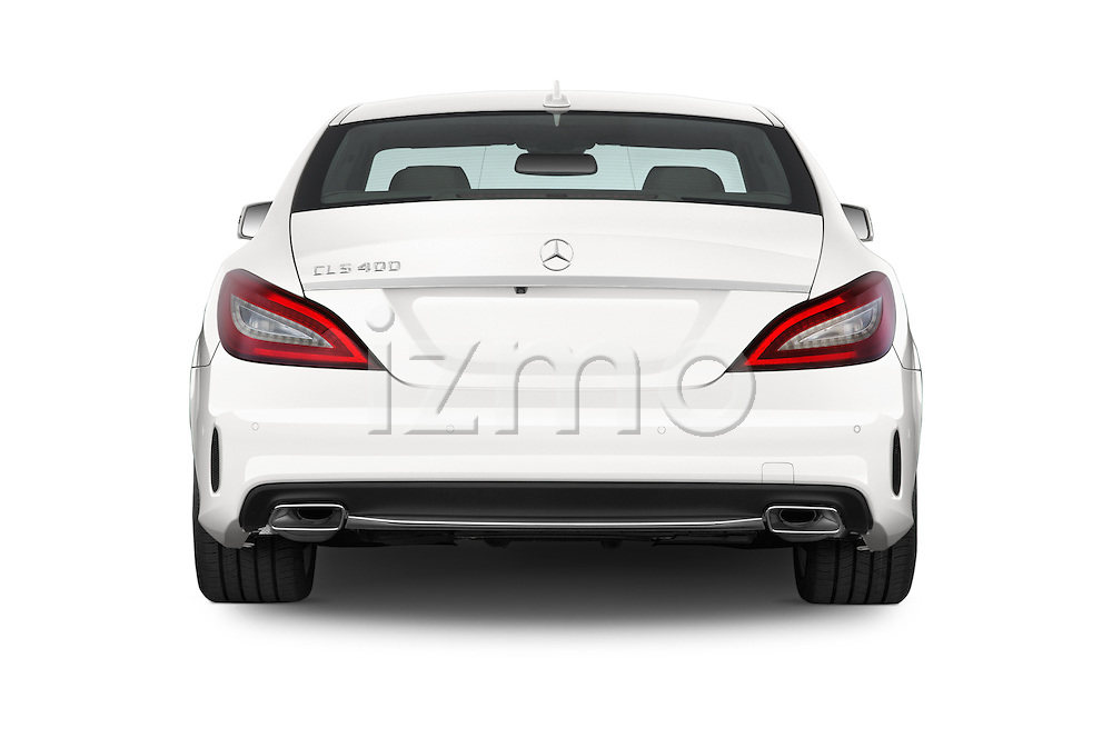 Straight rear view of a 2015 Mercedes Benz CLS-Class CLS400 2 Door Coupe Rear View  stock images
