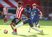 Sheffield United's Lys Mousset shields the ball from Chelsea's Kurt Zouma<br /> <br /> Photographer Alex Dodd/CameraSport<br /> <br /> The Premier League - Sheffield United v Chelsea - Saturday 11th July 2020 - Bramall Lane - Sheffield<br /> <br /> World Copyright © 2020 CameraSport. All rights reserved. 43 Linden Ave. Countesthorpe. Leicester. England. LE8 5PG - Tel: +44 (0) 116 277 4147 - admin@camerasport.com - www.camerasport.com