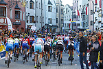 The start of the Women Junior Road Race of the 2018 UCI Road World Championships running 71.7km from Wattens to Innsbruck, Innsbruck-Tirol, Austria 2018. 27th September 2018.<br /> Picture: Innsbruck-Tirol 2018/BettiniPhoto | Cyclefile<br /> <br /> <br /> All photos usage must carry mandatory copyright credit (&copy; Cyclefile | Innsbruck-Tirol 2018/BettiniPhoto)