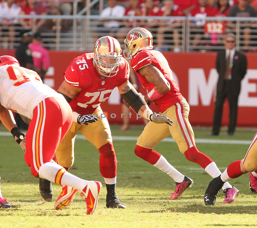 San Francisco 49ers Alex Boone (75) during a game against the Kansas City Chiefs on October 5, 2014 at Levi's Stadium in Santa Clara, CA. the 49ers beat the Chiefs 22-17.