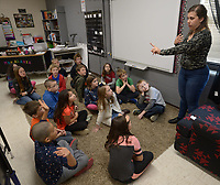 NWA Democrat-Gazette/ANDY SHUPE<br /> Rachel Bland (right), a teaching artist with Trike Theatre in Bentonville, works Wednesday, Nov. 28, 2018, with third-grade students in Barbara Alaniz's class at Greenland Elementary School to teach performance and movement skills during a workshop at the school. The series of classes will take place throughout the year through a partnership between Crystal Bridges Museum of American Art, Trike Theatre and The Windgate Charitable Foundation.
